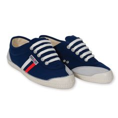 Backyard Footwear NAVY WITH WHITE + RED STRIPES   Comfort and Scandinavian design make this handmade canvas sneaker from Denmark your go to shoe.
