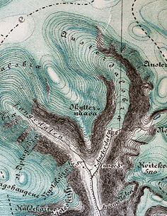 The beauty and imagination of mapping: detail of a map of austerdalsbreen glacier, 1901, Norway, via cocoroachchanel