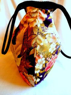 Japanese Bag Floral Fabric Hobo Bag Medium Purse by KaeArtworks,
