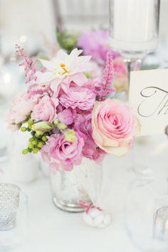 Wedding flowers pink table mercury glass 26 Ideas for 2019 Centerpiece Decorations, Flower Centerpieces, Wedding Centerpieces, Wedding Decorations, Wedding Table Flowers, Wedding Reception, Pink Table, Platinum Wedding, Different Flowers