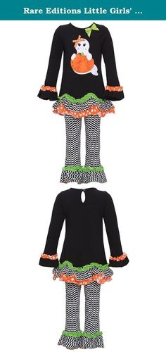 Rare Editions Little Girls' Black GHOST Applique Ruffle Leggings 2-pc outfit, 6x. Your little girl will look cute in this Halloween special outfit from Rare Editions. The black tunic features a ghost pumpkin applique, mixed pattern trims and is bow accented. Cute black white chevron striped trimmed leggings match perfectly with the ruffled layered hem of the tunic. Keyhole button closure at the back.