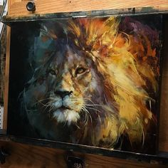 By Lindsey Kustusch Wildlife Paintings, Wildlife Art, Animal Paintings, Lion Painting, Tiger Art, Lion Art, Contemporary Paintings, Painting Inspiration, Art Pictures