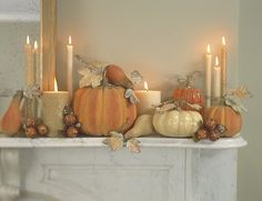 <3 this Fall Mantle!...the Candles..the Shimmer! Could definitely work as a centerpiece as well.