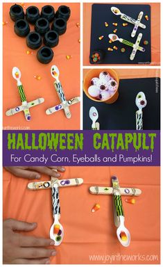 The perfect Halloween STEM activity is a Candy Corn Catapult! Even better? Try launching the candy corn, eyeballs and mini-pumpkins into cauldron targets! Classroom Halloween Party, Halloween School Treats, Cute Halloween Costumes, Halloween Books, Halloween Activities, Stem Activities, Easy Halloween, Monster Activities, Halloween Science