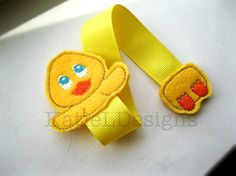 In The Hoop Duckling Bookmark Machine Embroidery Design by KatieLDesigns. Perfect for Easter!
