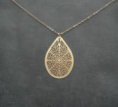 Gold Necklace   Elements Filigree Teardrop by ElementOfNature, $21.00