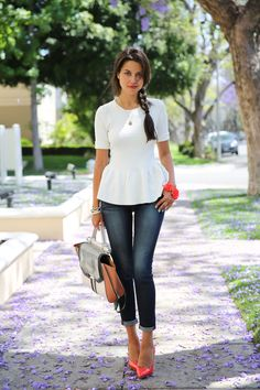 White Peplum, Skinny Blue Jeans + Miu Miu Red Patent Pumps