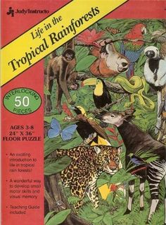 Life in the Tropical Rainforests Floor Puzzle - 50 Piece by Judy/Instructo. $15.95. 50 interlocking pieces. Made in U.S.A.. improves visual memory. Exciting introduction to tropical rainforests. teaching guide included. Life in the Tropical Rainforests Floor Puzzle  Colorful puzzle shows many animals native to Tropical Rainforests. Perfect for children from 3 to 8. Teaching Guide included. 50 pieces measuring 2 ft. x 3 ft. when completed.