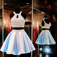 Hd08288 Charming Homecoming Dress,Satin Homecoming Dress,Halter Homecoming Dress,Beading Homecoming Dress