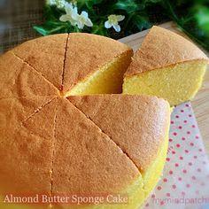 My Mind Patch: Almond Butter Sponge Cake Almond Sponge Cake Recipe, Almond Tart Recipe, Sponge Cake Recipes, Almond Recipes, Almond Butter, Recipe Using Ground Almonds, Cookie Cake Pie, Brownie Cookies, Cake Pan Sizes