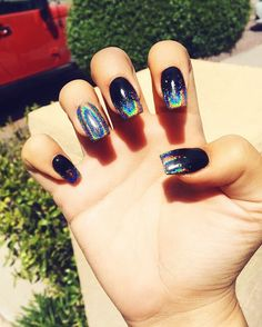 Holographic ombré nails with black  love hologram. Acrylic designs. Square nails
