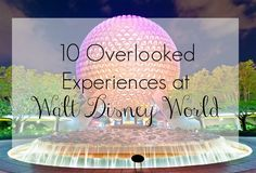 10 Overlooked Experiences at Walt Disney World that you won't want to miss!