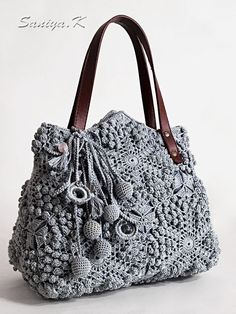 Crochet Baby, Knit Crochet, Lace Bag, Popcorn Stitch, Crochet Handbags, Big Bags, Knitted Bags, Fabric Covered, Handmade Bags
