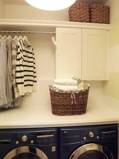 No laundry room? Add a stock cabinet, plywood/MDF board shelf and hanging rod, and you have instant laundry room storage. Home Diy, Home, Home Organization, Room Inspiration, Laundry, Laundry Room Inspiration, Hanging Racks, Home Projects, Room Makeover