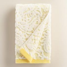 One of my favorite discoveries at WorldMarket.com: Lemon Fraiche Damask Caterina Sculpted Hand Towel