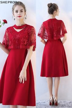 15% OFF, Burgundy Red Lace Knee Length Party Dress Cape Sleeved #BLS86094 at SheProm. #SheProm is an online store with thousands of dresses, range from Homecoming,Party,Red,A Line Dresses,Short Dresses,Customizable Dresses and so on. Not only selling formal dresses, more and more trendy dress styles will be updated daily to our store. With low price and high quality guaranteed, you will definitely like shopping from us. Shop now to get $5 off!