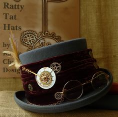 Gents Steampunk top hat inspired by Harry Potter, The Librarian complete with vintage wire rimmed spectacles