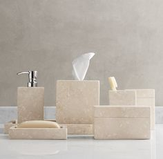 Rh S Crema Marble Bath Accessories Crafted By Hand From White Italian Our Balance Timeless Natural Beauty With Clean