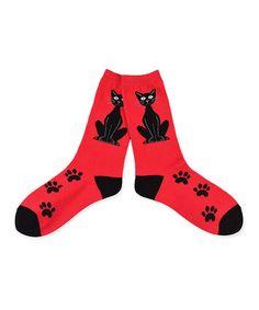 Look what I found on #zulily! Red & Black Sitting Cat Crew Socks #zulilyfinds