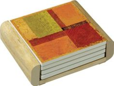 CounterArt Harmony Design Absorbent Coasters in Wooden Holder, Set of 4 by Counter Art. $14.50. Holder is made of durable rubberwood with a clear varnish finish. Coasters are natural stoneware with decorative transfer print. Beautiful, colorful design meets high functionality with this coaster gift set. To remove coaster stains, soak coaster in 1 part household bleach and 3 parts water until stain lifts, then rinse and air dry. Set of 4 absorbent coasters in wooden display hol...