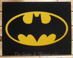 Batman Logo TIN SIGN vtg dc comics superhero movie poster metal wall decor 1334