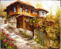 Old Cottage, Cottage Art, Turkish Art, Autumn Painting, Landscape Illustration, Travel And Leisure, Beautiful Paintings, Art World, Old Houses