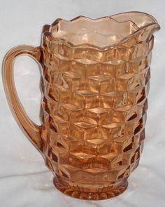 Dscn2475  Indiana glass Pink cube Whitehall pitcher