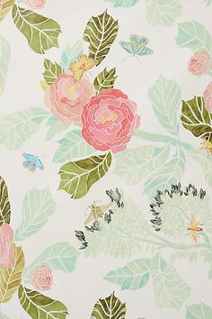 Watercolor Flora Wallpaper