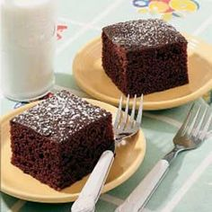 This chocolate cake is so moist it doesn't even need frosting! Just sprinkle on a little confectioner's sugar. Substitute all-purpose with whole wheat flour, sugar with Splenda, and vegetable oil with applesauce for a healthier and fiber-packed but just as tasty dessert! ^__^