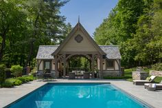 This English Tudor style pool house provides an ideal space for gracious outdoor entertaining. Minus the pool, I love this look! Tudor House, Tudor Cottage, Georgian House, Cottage Homes, Pool House Designs, English Tudor, Tudor Style, Pool Houses, Architect Design