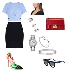 """""""Untitled #90"""" by gcardentey on Polyvore featuring Helmut Lang, Christian Louboutin, Forever 21, Gucci, Rolex, Cartier and CÉLINE"""