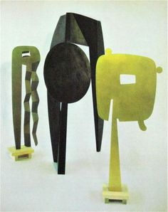 "noguchi in color Isamu Noguchi ""The Kite"" 1958 ""Man Walking"" 1959 ""The Gold Mirror"" 1958 Isamu Noguchi, Art Sculpture, Abstract Sculpture, Ceramic Sculptures, Contemporary Sculpture, Contemporary Art, Collages, Land Art, Art Object"
