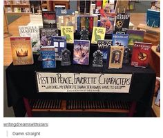 """""""RIP"""" : display fiction where character dies bookstor display"""