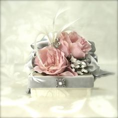 Favor Box Jewelry Gift Box Pink and Gray Gift boxes Pre-wrapped Gift Box Wedding favor Bridesmaid gifts Elegant, Romantic Rhinestone