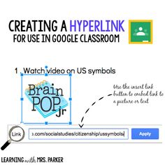 Read how to create a hyperlink to use with Google Classroom with your students.