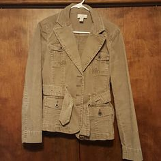 Corduroy belted jacket size 6 Ann Taylor Loft olive green corduroy jacket. Four button closure and buckle belt. Like new. LOFT Jackets & Coats