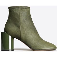 Maison Margiela 22 Ankle Boots ($765) ❤ liked on Polyvore featuring shoes, boots, ankle booties, green, zip ankle boots, high heel booties, leather booties, bootie boots and leather ankle booties