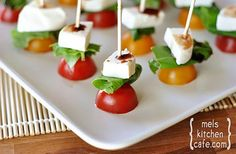 Caprese Skewers - I used grape tomatoes instead of cherry and they still turned out awesome