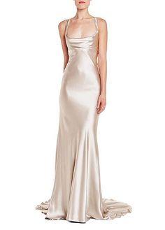 -Latte cowl neck sheath gown-Crepe Back Satin-Hidden back zipper-Silk lined Made in USA. Gala Dresses, Satin Dresses, Formal Dresses, Scoop Neck Dress, Cowl Neck Wedding Dress, Silk Gown, Beautiful Gowns, Dream Dress, Pretty Dresses