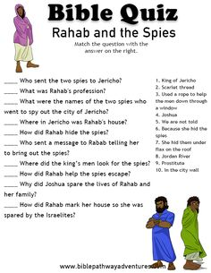 Printable bible quiz - Rahab and the Spies Youth Bible Study, Bible Stories For Kids, Bible Crafts For Kids, Bible Story Crafts, Bible Study For Kids, Bible Lessons For Kids, Bible Games, Bible Activities, Bible Trivia