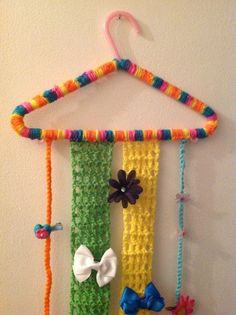 Jewelry Barrette Holder Organizer Hanger via Craftsy crochet pattern. For girl's or baby's hair bows.