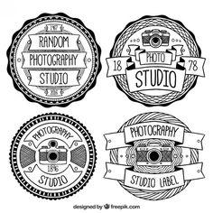 logotipos vintage em preto e branco para estúdios de fotografia Vetor grátis