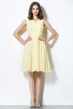 sleeveless v neck knee length yellow chiffon custom bridesmaid dress