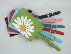 Identify your bag with these colorful daisy luggage tags...$6.25  #daisy #daisyluggagetags #travelgifts