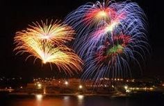 "Fireworks in Malta over the Grand Harbour. ""Spectacular fire in motion""."
