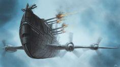 flight, art, in the sky, steampunk, steampunk, ship, transport