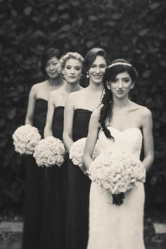Long lines rather than standing in a row with your bridesmaids makes for a cool wedding photo