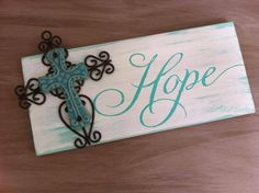 Wooden Hope Sign w/ Ceramic Cross on Etsy, $16.00