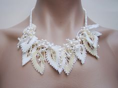 Pearl necklace, Freshwater pearl bridal necklace, leaves necklace, wedding jewelry, white and ivory, beaded leaves, 7PM boutique, OOAK, $157.00
