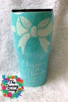 30 oz tumbler Tiffany Blue with bow- Audrey Hepburn quote